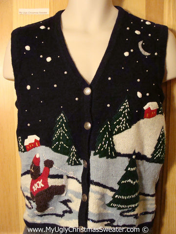 Tacky Christmas Sweater Party Ugly Sweater Vest with a Bear Skating in a Night Time Winter Wonderland (f839)