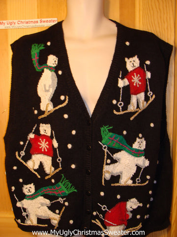 Tacky Ugly Christmas Sweater Vest Festive Skiing Bears (f83)