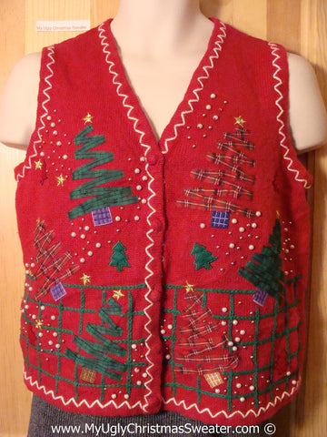 Tacky Christmas Sweater Party Ugly Sweater  Vest with Crafty Plaid Zig Zag Trees (f840)