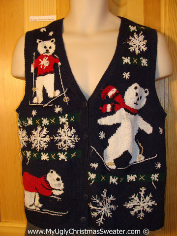 Tacky Christmas Sweater Party Ugly Sweater Vest with Skating Bears in a Winter Wonderland of Snowflakes (f841)