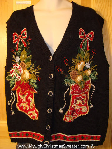Tacky Christmas Sweater Party Ugly Sweater Vest with Red Stockings and Bold Horrid Colors  (f842)