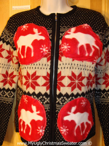 Tacky Christmas Sweater Party Ugly Sweater with Reindeer or Moose in a Nordic Snowflake Pattern (f843)