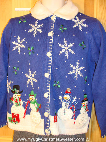 Tacky Christmas Sweater Party Ugly Sweater Snowman Family and Furry Collar (f845)