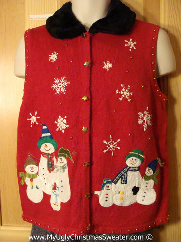 Tacky Christmas Sweater Party Ugly Sweater Vest with Snowman Family and Furry Collar  (f846)