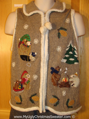 Tacky Christmas Sweater Party Ugly Sweater Vest with Bears Cooking Smores, Fishing, and Sledding (f847)