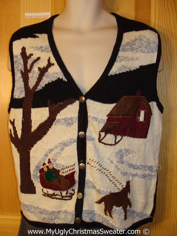 Tacky Christmas Sweater Party Ugly Sweater Vest with Horse Drawn Sleigh in a Winter Wonderland   (f848)