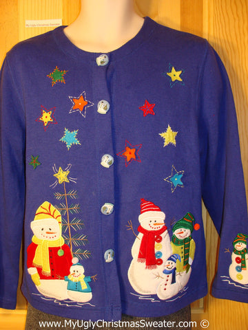 Tacky Colorful Christmas Sweater Party Ugly Sweater with Snowmen and Stars (f849)