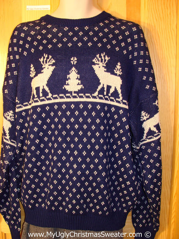 Tacky Reindeer Christmas Sweater Party Ugly Sweater Vinatage Design with Reindeer on Front and Sleeves (f850)