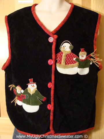 Tacky Christmas Sweater Party Ugly Velvety Snowman Vest  (f853)