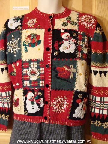 Tacky Christmas Sweater Party Ugly Sweater with Crafty Plaid Patchwork Pattern (f856)