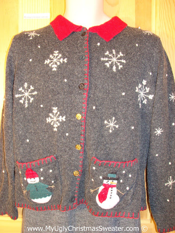 Tacky Christmas Sweater Party Ugly Sweater with Snowmen on Front and Back (f857)