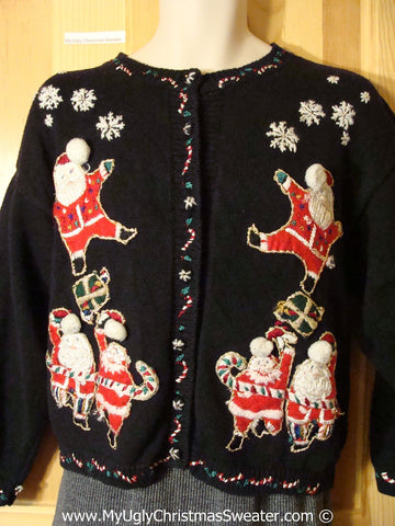 Tacky Christmas Sweater Party Ugly Sweater Leaping Santas (f858)