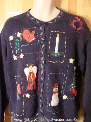 Tacky Christmas Sweater Party Ugly Sweater with Crafty Patchwork Embroidery (f862)