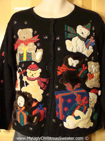 Tacky Christmas Sweater Party Ugly Sweater with Furry Festive Bears on Front and Back (f863)