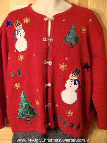 Tacky Red Christmas Sweater Party Ugly Sweater with Snowmen and Christmas Trees and Nordic Style Clasps (f865)