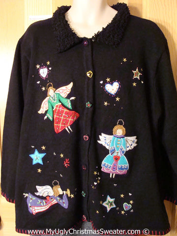 Tacky Christmas Sweater Party Ugly Sweater with Flying Angels, Furry Collar, and Stars and Hearts (f866)