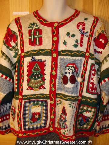 Tacky Christmas Sweater Party Ugly Sweater with Patchwork Horrid Stripes and Decorations on Front, Back, and Sleeves  (f868)