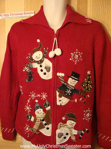 Tacky Ugly Christmas Sweater Peaking Snowmen with Pom Pom Zipper Pull (f86)