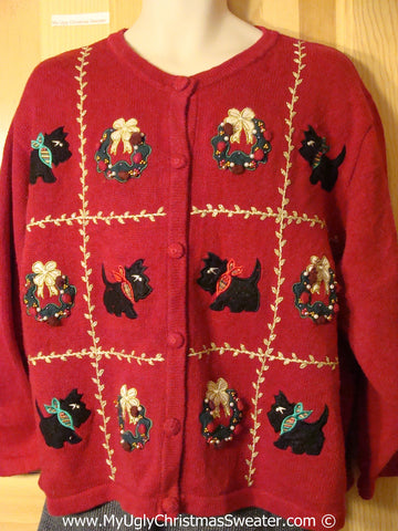 Tacky Christmas Sweater Party Ugly Sweater with Scotty Dogs on Front and Back (f871)