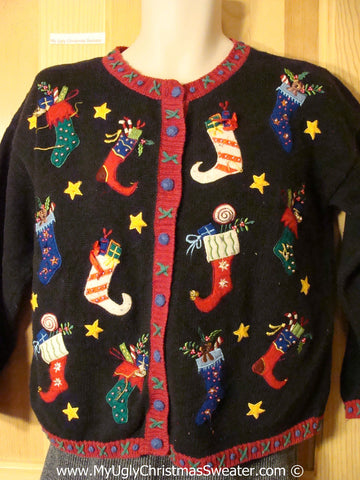 Tacky Christmas Sweater Party Ugly Sweater with Festive Pointy Toe Stockings on Front and Back (f872)