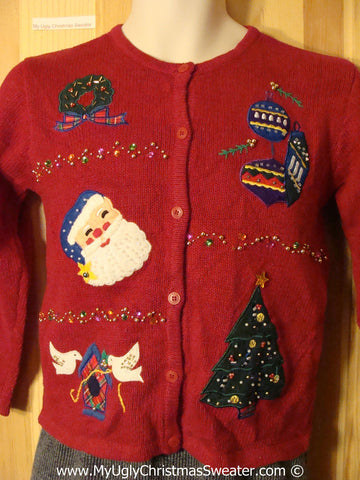 Tacky Christmas Sweater Party Ugly Sweater with Santa, Birdhouse, Wreath, Ornaments, and Tree (f873)