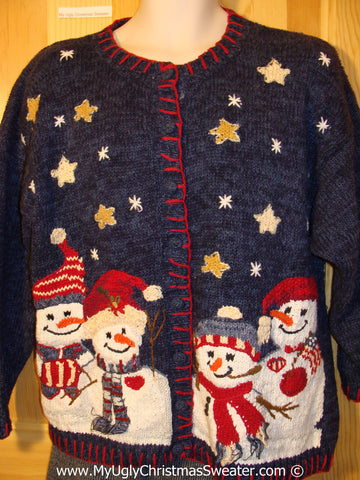 Tacky Christmas Sweater Party Ugly Sweater with Huge Carrot Nosed Snowmen in a Star Filled Winter Wonderland. 80s Style Padded Shoulders   (f875)