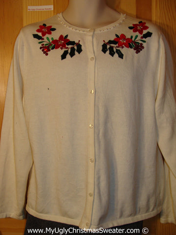 Tacky Christmas Sweater Party Cheap Ugly Sweater with Poinsettias (f877)