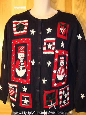 Patriotic Tacky Christmas Sweater Party Ugly Sweater with Stars and Stripes and Snowmen (f878)