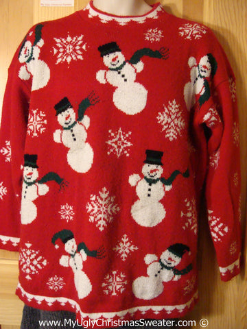 80s Style Tacky Christmas Sweater Party Ugly Sweater with Snowmen and Snowflakes  (f879)
