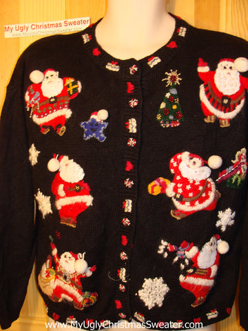 Tacky Ugly Christmas Sweater Fancy Embroidered Santas with their Loot of Gifts (f87)