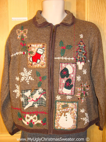 Tacky Christmas Sweater Party Ugly Brown Sweater with Plaid Patchwork Design (f881)