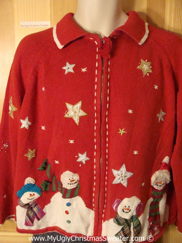 Tacky Christmas Sweater Party Ugly Red Sweater with Four Giant Carrot Nosed Snowmen and Stars (f882)