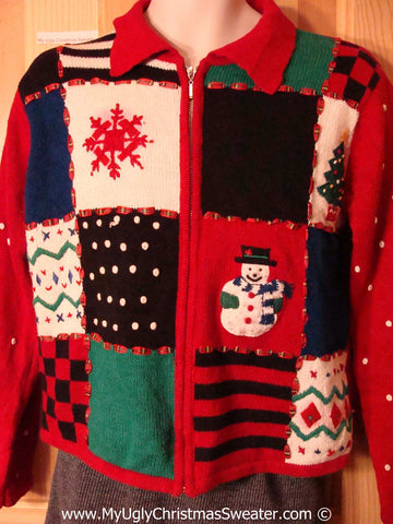 Tacky Christmas Sweater Party Ugly Sweater Snowmand and Snowflake in a Grid of Patchwork Stripes and Checkerboard (f883)