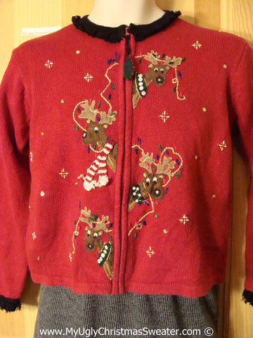 Child Size Tacky Christmas Sweater Party Ugly Sweater with Surprised Reindeer on Front and Back (f884)