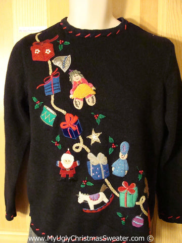 Tacky Christmas Sweater Party Ugly Sweater with Gifts and Toys and Santa on Front and Back (f885)