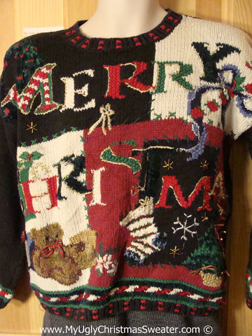 Tacky Christmas Sweater Party Classic 80s Ugly Sweater with Padded Shoulders and  MERRY CHRISTMAS(f886)