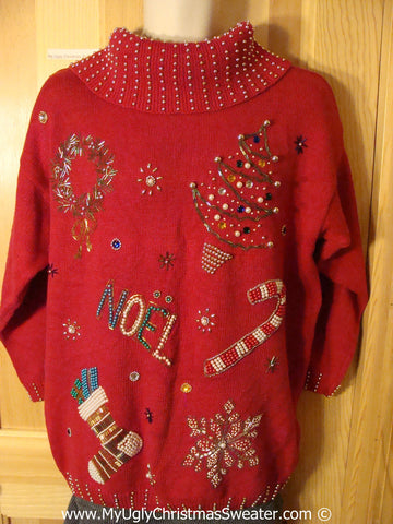 Tacky Christmas Sweater Party Ugly 80s Style Sweater Loaded with BLING Tree, Wreath, NOEL, Candy Cane, Stocking, and Snowflake (f887)