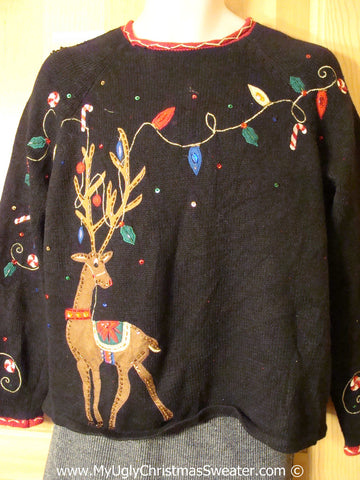 Tacky Christmas Sweater Party Ugly Reindeer Sweater with Antler Decorations (f888)