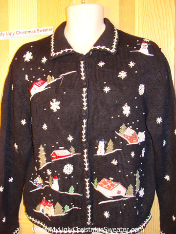 Tacky Ugly Christmas Sweater Snowy Winter Wonderland Town (f88)