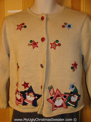 Tacky Christmas Sweater Party Crafty Plaid Themed Ugly Sweater with Stars and Santa (f890)