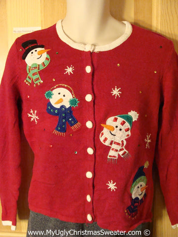 Tacky Christmas Sweater Party Ugly Sweater with Four Carrot Nosed Festive Snowmen (f891)
