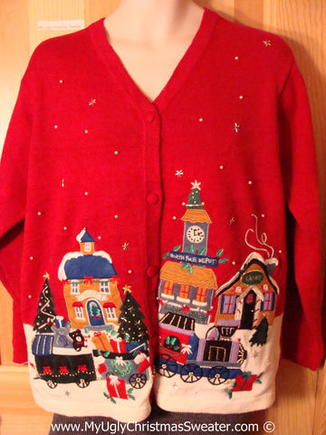 Tacky Christmas Sweater Party Ugly Sweater with Festive Colorful Winter Wonderland Town (f893)
