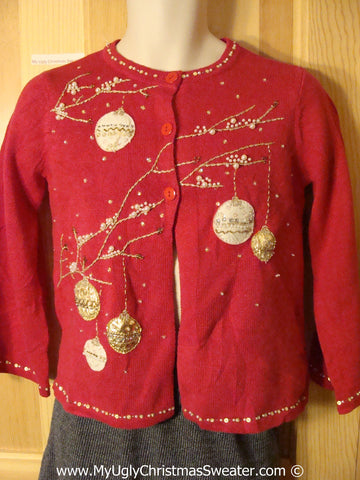 Tacky Christmas Sweater Party Ugly Sweater with Gold Bling Ornaments (f896)