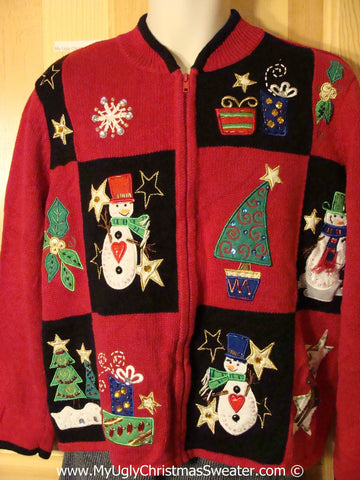 Tacky Christmas Sweater Party Ugly Sweater with Bling Trees, Snowmen, and Gifts (f899)