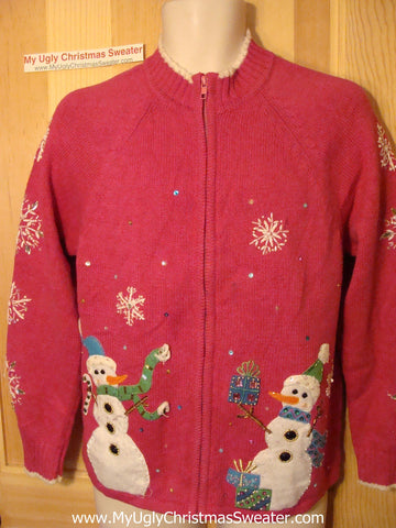 Tacky Ugly Christmas Sweater Snowmen and Snowflakes (f8)