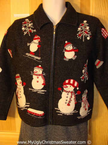 Tacky Christmas Sweater Party Ugly Sweater with Snowmen on Front and Back (f900)