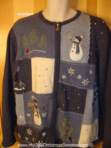 Tacky Christmas Sweater Party Ugly Sweater with Crafty Patchwork Snowman and Snowflakes on Front and Back (f901)