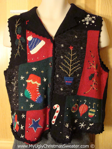 Tacky Christmas Sweater Party Ugly Sweater Vest with Crafty Patchwork Festive Designs (f902)