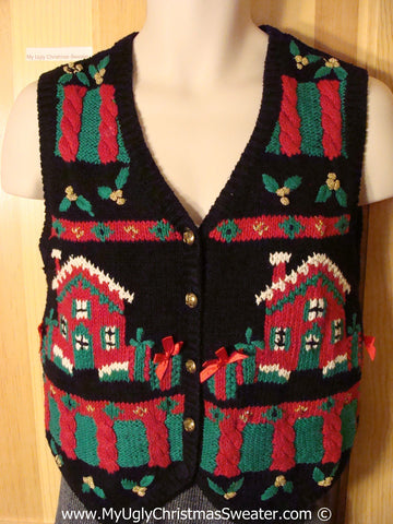 Tacky Christmas Sweater Party Ugly Sweater Vest with Festive Green and Red Homes and Gifts  (f904)