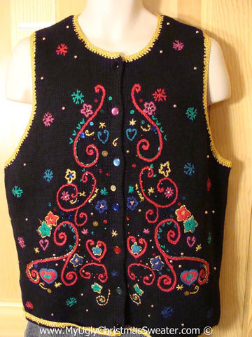 Tacky Christmas Sweater Party Ugly Sweater  Vest with Serious Bling  (f906)